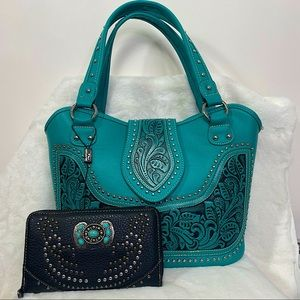 Montana West Turquoise studded Purse & Wallet